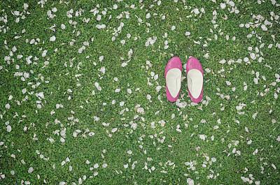 苹果花,鞋子,粉色,留白,高视角,高跟鞋,草,仅成年人,想法,白色