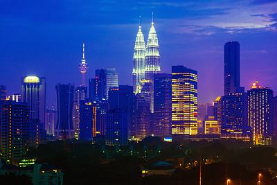 吉隆坡,夜晚,马来西亚,都市风景,双峰塔,天空,水平画幅,高视角,无人,市区路