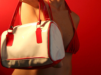 比基尼,红色,塑料袋,躯干,胸部,半装,水平画幅,夏天,白人,泳装