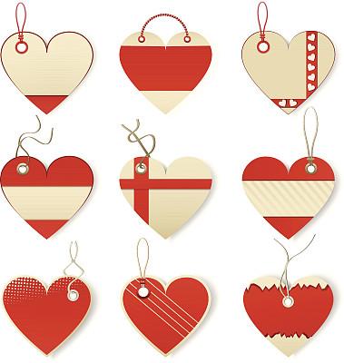标签,心型,行李标签,留白,绘画插图,符号,纸板,阴影,线绳,市场营销
