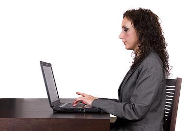 办公室职员,@符号,办公室,美,笔记本电脑,水平画幅,美人,白人,仅成年人,青年人