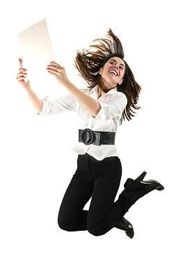 女商人,垂直画幅,留白,四肢,消息,举起手,仅成年人,白领,青年人,成年的