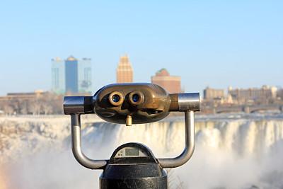 亚美利加瀑布城,望远镜,看风景,投币望远镜,尼亚加拉瀑布,便携式望远镜,水,水平画幅,瀑布,无人