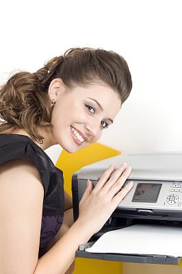 打印机,女人,喷墨盒,复印机,垂直画幅,留白,半身像,拟人笑脸,书页
