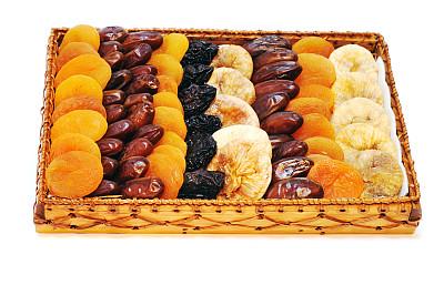 篮子,干果,李子干,水平画幅,无人,生食,法式食品,杏,甜点心,彩色图片