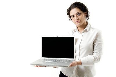 笔记本电脑,女商人,电子邮件,仅成年人,知识,青年人,白色,技术,计算机,商务