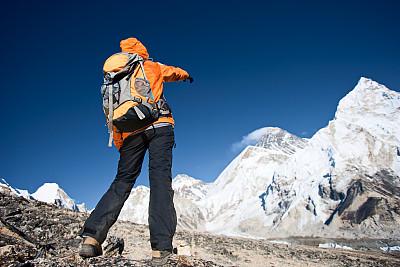 珠穆朗玛峰,山,徒步旅行,偏振光,天空,雪,旅行者,顶部,仅成年人,明亮