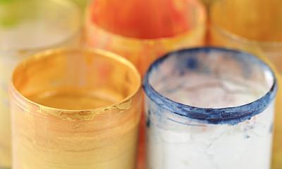 油漆罐,艺术,水平画幅,无人,特写,开着的,彩色图片,大特写,橙色,色彩鲜艳