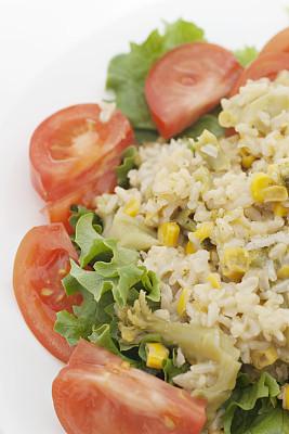 西红柿,莴苣,米,散叶莴苣,垂直画幅,饮食,无人,正上方视角,生食,玉米