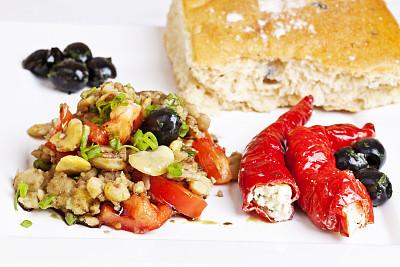 盘子,发令员,饮食,奶制品,水平画幅,素食,无人,开胃品,椒类食物,奶酪