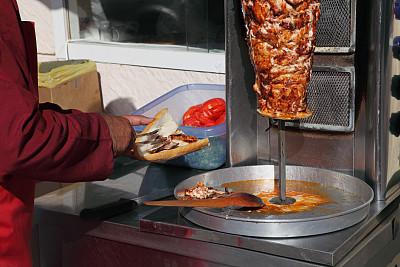 烤肉串,伊斯坦布尔,饮食,烤的,水平画幅,土耳其,膳食,食品,肉,做
