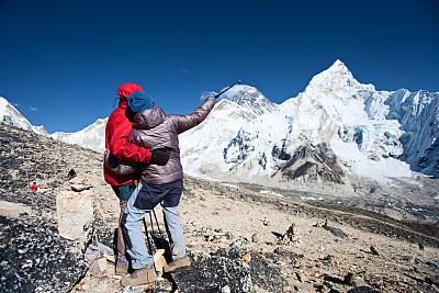 珠穆朗玛峰,伴侣,山,面对面,卡拉帕塔峰,khumbu glacier,山景城,努子峰,洛子峰,冰瀑
