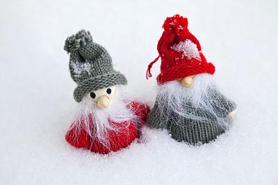 巨魔,小的,雪,两只动物,留白,水平画幅,可爱的,无人