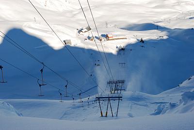 滑雪缆车,阴影,山,自然,水平画幅,雪,无人,滑雪运动,滑雪坡,白色