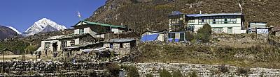 夏尔巴人,茶馆,尼泊尔,乡村,喜马拉雅山脉,全景,山顶,小木屋,南奇集市,高地