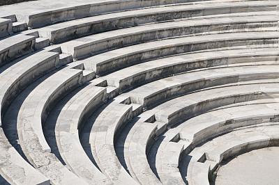圆形剧场,台阶,式样,古董,灰色,成一排,座位,水平画幅,建筑,无人