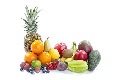 水果,白色背景,杨桃,荔枝,西番莲,留白,水平画幅,素食,无人,组物体