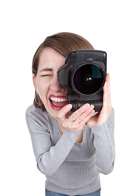 摄影师,单反相机,垂直画幅,艺术家,白人,仅成年人,鱼眼镜头,长发,技术,成年的
