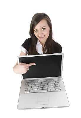 可爱的,台式个人电脑,女孩,垂直画幅,青少年,留白,高视角,电子邮件,电子商务,现代