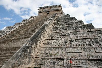 墨西哥玛雅金字,旅行者,金字塔形,契晨-伊特萨,纪念碑,夏天,异国情调,石材,过去,石头