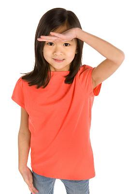 t恤,女孩,垂直画幅,留白,半身像,手势语,黑发,看,彩色图片,中国人