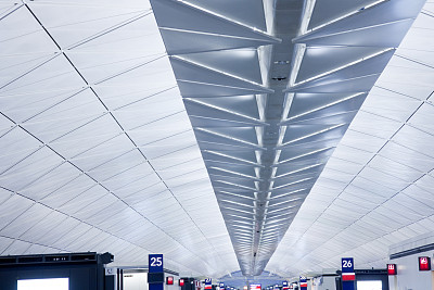 未来,机场,整体情况,机场出发区,天花板,现代,建筑业,条纹,商务,成一排