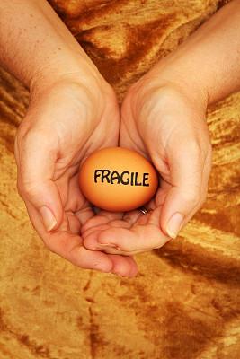 弱点,卵,捧着,垂直画幅,褐色,鸡蛋,手,遮护的手势,单词
