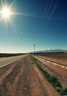 路,农场,电线杆,电话线,垂直画幅,水,雪,无人,泥土,沥青