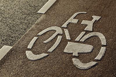 自行车道,车道标志,定界线,林荫大道,式样,水平画幅,无人,市区路,路,路边
