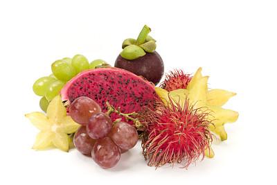 热带水果,金星果,杨桃,山竹,荔枝,皮塔雅,饮食,水平画幅,水果,无人