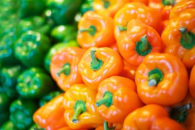 橙色灯笼椒,绿色,青椒,饮食,水平画幅,橙色,灯笼椒,无人,椒类食物,生食
