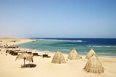 埃及,海滩,高架铁路铁轨,红海,天空,水平画幅,沙子,无人,夏天,海岸地形