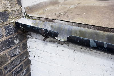 雨,破碎的,排水沟,房顶排雨沟,图像聚焦技术,选择对焦,水平画幅,墙,漏泄,无人