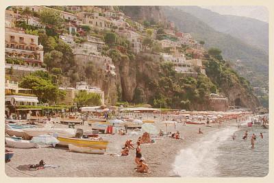波西塔诺,明信片,海滩,白昼,阿玛菲海岸,地名,纹理效果,纪念品,古老的,古典式