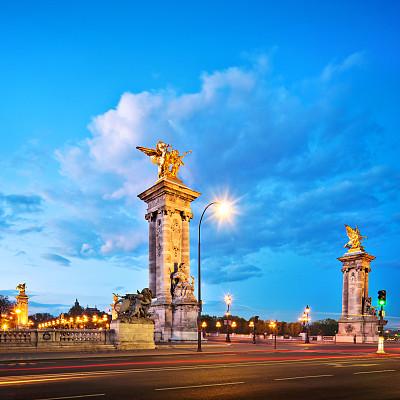 亚历山大三世桥,巴黎,alexander the great,香榭丽舍区,新艺术主义,塞纳河,纪念碑,天空,夜晚,古老的