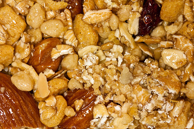 蛋白棒,美洲山核桃,留白,什锦烤燕麦片,水平画幅,无人,图像,特写,彩色图片,燕麦