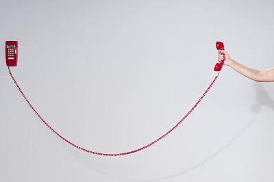 电话机,红色,手牵手,挂上听筒的,电话听筒线,电话线,座机,电缆,办公室,留白