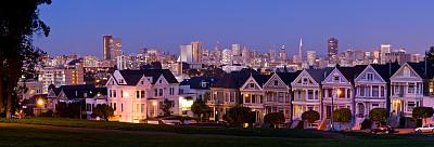旧金山,苎胥蝶,明信片,巷,美国,水平画幅,地形,建筑,夜晚,无人