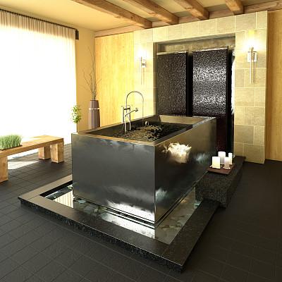 浴室,现代,spa美容,美,新的,形状,无人,巴洛克风格,健康,家具