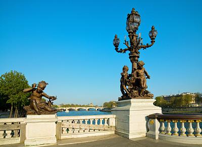 桥,巴黎,alexander the great,亚历山大三世桥,香榭丽舍区,新艺术主义,塞纳河,纪念碑,天空,古老的