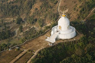 博卡拉,宝塔,安娜普娜山脉群峰,纪念碑,水平画幅,高视角,旅行者,佛塔,非凡的,白色