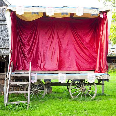 舞台,篷车,中世纪时代,马车,车轮,木制,无人,古老的,天鹅绒,方形画幅