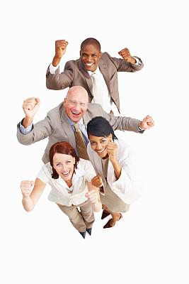 幸福,商务人士,白色背景,秃头,垂直画幅,四肢,休闲活动,高视角,套装,非裔美国人