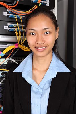 网络服务器,垂直画幅,女人,技术员,计算机设备,图像,经理,it技术支持,商务人士,支架
