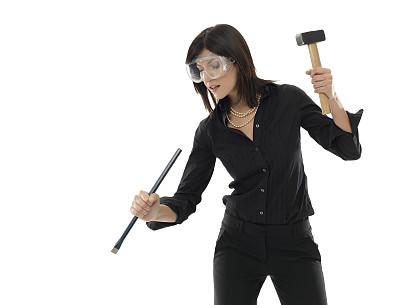 凿子,锤子,商务,女孩,留白,女人,仅一个女人,水平画幅,人,白人