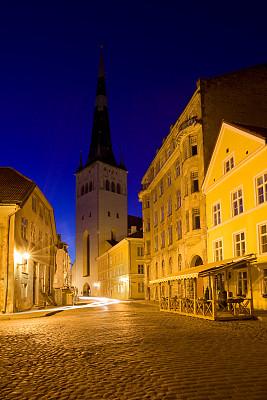 塔林,爱沙尼亚,垂直画幅,旅游目的地,建筑,夜晚,无人,欧洲