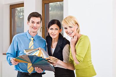会议,女性,室内设计师,新的,业主,顾客,图像,男性,仅成年人,居住区