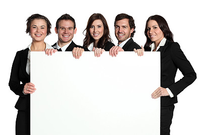 布告,拿着,商务人士,正面视角,留白,水平画幅,注视镜头,在之后,人群,套装