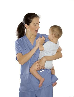 幼儿,喉部检查,女护士,垂直画幅,美,服务业职位,美人,仅男孩,健康