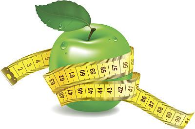 绿色,苹果,卷尺,封锁线,果糖,重的,艺术,形状,绘画插图